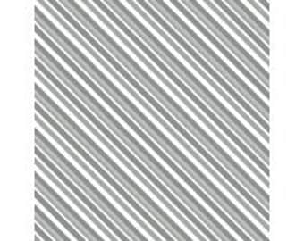 Gray and White Diagonal Stripe - Alpine from Wilmington Prints - Full or Half Yard Gray Stripe