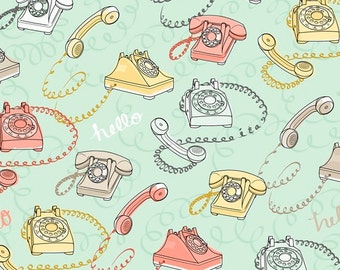 Telephone Fabric - Talk to Me by Ink and Arrow for Quilting Treasures - Full or Half Yard Lt. Seafoam Rotary Phones