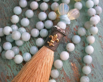 ON SALE Beaded tassel necklace boho jewelry - Vivre - long necklace, bohemian jewelry, amazonite necklace, baby blue, rhinestones, gemstones