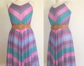 ON SALE Vintage 70s / Chevron Striped / Pink / Blue / Purple / Spaghetti Strap / Day Dress / Small