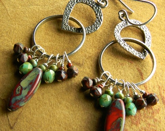 Boho Tribal Jewelry Sterling Silver Long Dangle Earrings Colorful Beaded OOAK