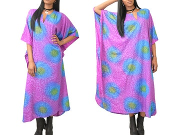 Vintage Amethyst Psychomagic Tie Dye Caftan Maxi Dress// SML