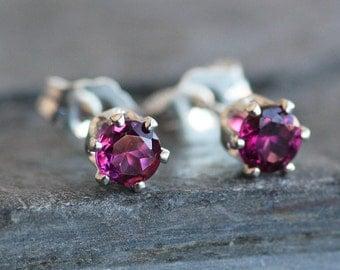 Pink Rhodolite Garnet Stud Earrings in Sterling Silver Setting -4mm Gemstones - Small Post Earrings
