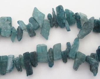 Kynite Kyanite Beads - Raw Rough Shard Stone - Teal Stick Point - Top Drilled Spike Kynite - Freeform Semiprecious (11) Pcs Jewelry Making