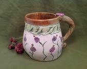 Mug/flowered mug/handmade mug/coffee mug/pottery mug/lavender/lavender flowers/unique mug