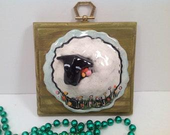 Decorative tile/sheep/sheep art/wall tile/wall plaque/handmade tile/lambs/sheep in the meadow/sheep art