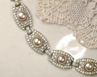 Antique 1930s Pearl Rhinestone Bracelet, Wide Link Champagne Pearl Silver Art Deco Bridal Bracelet Pave Great Gatsby Vintage Wedding Jewelry