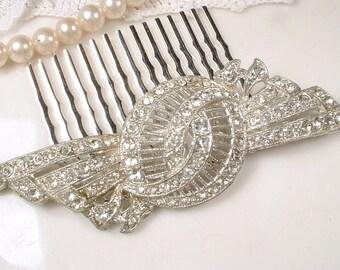 1920s Antique Wedding Hair Comb, Art Nouveau/Deco Rhinestone Filigree Bridal Hair Piece, Vintage Crystal Brooch to OOAK Headpiece, Victorian