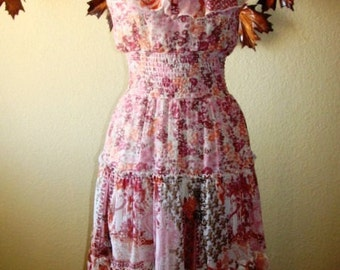 Vintage Bohemian Poly Sheer Chiffon Finish Taupe Coral Rouge Brown Warm Summer Spaghetti Strap Ruffle Layer Floral Dress XS Elastic Waist