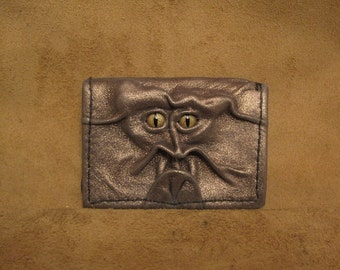 Grichels leather card wallet - metallic gold with bronze speckled slit pupil reptile eyes