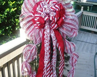 Over The Top Candy Cane Christmas Tree Topper, Peppermint Bow Topper, For big trees,  5ft Streamers, Candy Cane Christmas Tree Top Bow