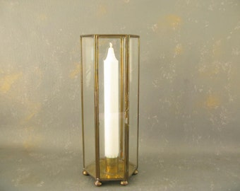 Vintage Brass and Glass Candle Holder, taper