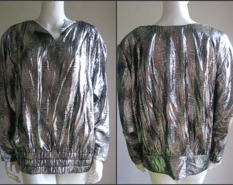 70s 80s vintage silver  iridiscent  lurex disco  glam top