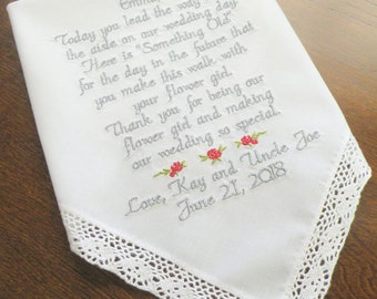 Flower Girl Handkerchief Lace Hanky for your Flowergirl Keepsake  Hankie By Canyon Embroidery