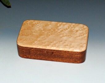 "Wood ""Oyster"" Box- Birdseye Maple on Mahogany - Wood Stash Box, Treasure Box, Keepsake Box, Wooden Box, Wood Jewelry Box, Wooden Jewelry Box"