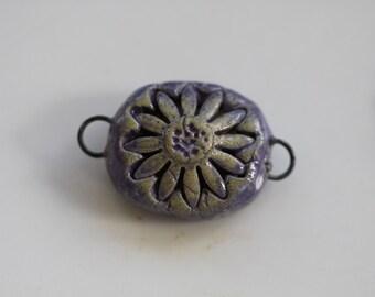 Flower pendant connector Ceramic flower Pendant handmade clay flower necklace flower art bead artisan jewelry supplies potterygirl1