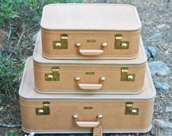 Vintage Set of 3 JC Higgins Sears Suitcases - Unused