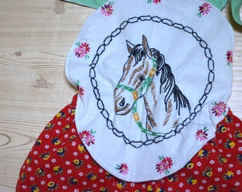 Vintage Horse Sunsuit Embroidered Romper Baby Girl