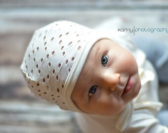 Baby pilot hat, baby girl hat, hearing aid hat, Emmifaye hat, hat with ties, toddler hat, spring hat, baby gift, baby cap, cream hat