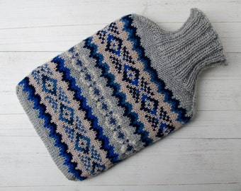 Knitted Hot water bottle cover merino wool fairisle Multicoloured blues and gray