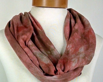 Rust and Sand Infinity Scarf, Bamboo Cotton Jersey Scarf, Hand Dyed Scarf, Neck Wrap 46