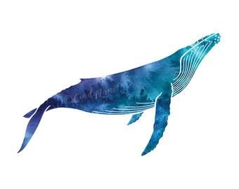 Watercolor Humpback Whale Print, Whale art, Whale watercolor painting, Humpback print, Whale painting, Whale watercolour, Beach House Decor