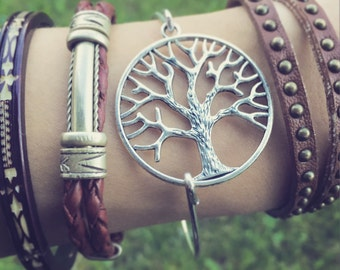 Tree of Life Bangle Bracelet / Silver Tree Lover Gift Boho Bohemian Style Arm Candy Bracelet Stack Bridesmaids Wedding Shower Favor Summer