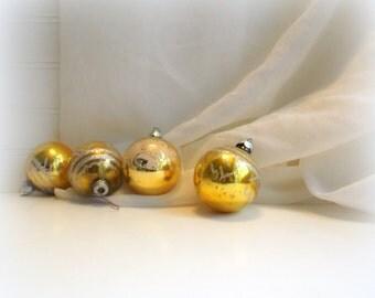Gold Shiny Brite Ornaments Vintage Mercury Glass Christmas Balls  Set of Four Mid Century Christmas