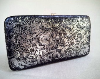 Vintage 1990s Black and Silver Clutch Purse Wallet, Imitation Embossed Leather Clutch Style Wallet, ID and Credit Card holder