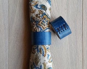 Two Blue Leather Napkin Rings Hand Dyed/Hand Sewn~ Hostess Gift ~Wedding ~ Dining ~ Alfresco ~ Housewarming ~ Home Decor ~ Gifts for Chefs