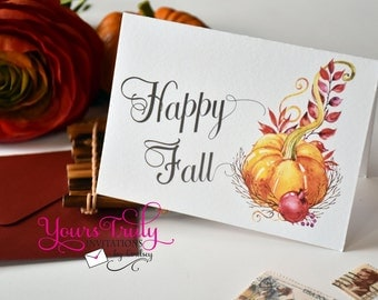 Happy Fall pumpkin notecards or thank you note