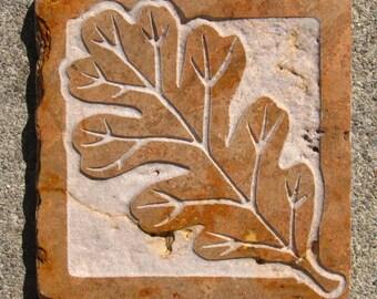 4x4 Oak Leaf Tile - Etched Polished and Tumbled Travertine Stone Tile - SRA