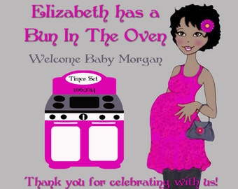 Bun in the Oven Personalized Baby Shower Labels