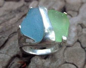 Sea Glass Ring Vaseline Glass rare