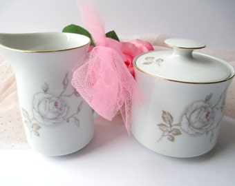Vintage Johann Haviland Sweetheart Rose Cream and Sugar Set