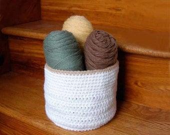Crochet Storage Basket, Bin, Holder, Modern Farmhouse Bathroom, Home Organization, Craft Room Decor, White, Beige, Versatile, Handy