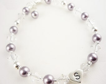 Flower Girl Bracelet gift- mauve and crystal or any colors swarovski - personalization sterling heart shaped initial