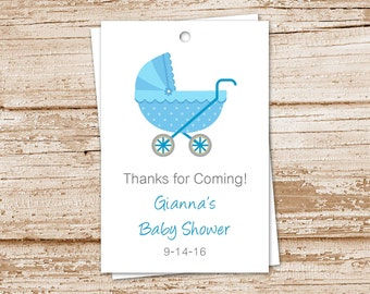 PRINTABLE baby boy favor tags . baby carriage, stroller . baby shower . personalized . gift tags . You Print