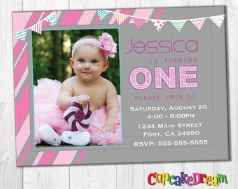 First Birthday Invitations, Girl Birthday Invitation