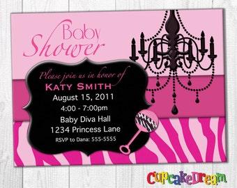 Girl Baby Shower Invitations, Pink Baby Shower