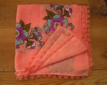 cotton turkish scarf with needle lace trim, peach headscarf
