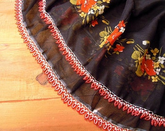 black cotton scarf with red beaded trim