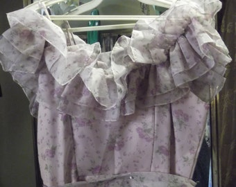 1970s/'80s pretty lavender floral Prom Dress or Bridesmaid, S