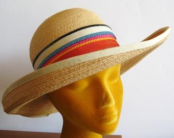 Vintage 50s 60s Large Brim Woven Straw Sun Hat Ribbon Trim