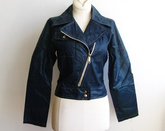 Vintage 60s Mod Navy Blue Nylon Windbreaker Motorcycle Jacket