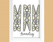 Clothespin Laundry Room Wall Art Printable - Laundry Room Decor - Instant Download - Gray, Lime Green, Peacock Blue - 8x10 and 11x14