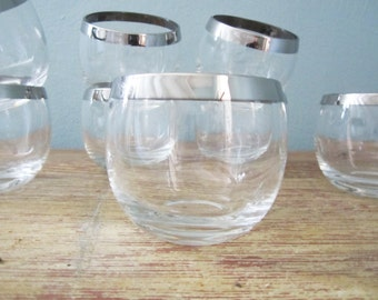 Mid Century Silver Rim Roly Poly Set of Eight