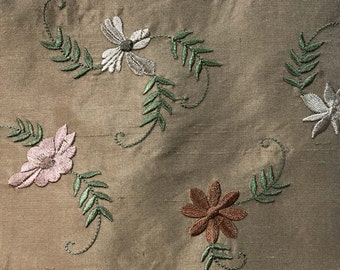 Embroidered Silk Fabric - Embroidered Flower Fabric - Silk Flower Fabric - Brown Silk Fabric Yardage - Designer Chenille Brocade - 1 yard