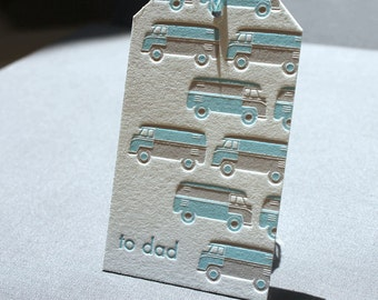 Letterpress Gift Tag  - Father's Day Car Pattern