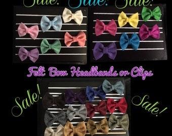 Felt Bow Clip, SALE, Hair Clip Sale, Felt Bow Sale, Hair Clips, Hair Bows, Bow Tie
